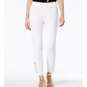 Thalia Sodi Button Detail White Skinny Ankle Jeans